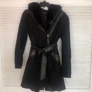 Via Spiga black above the knee faux fur hood